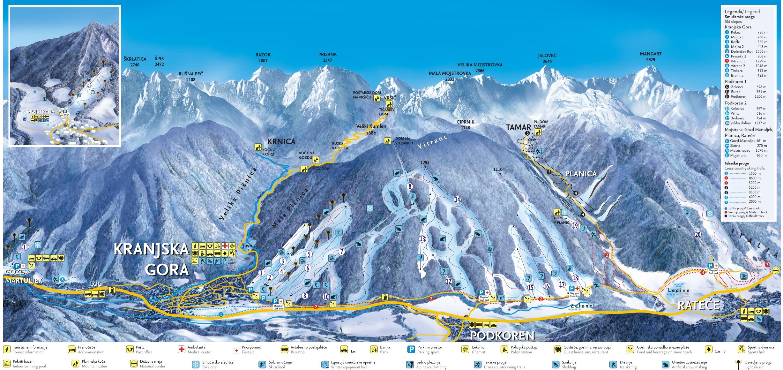 zemljevid smučišča Kranjska Gora, Podkoren in Planica